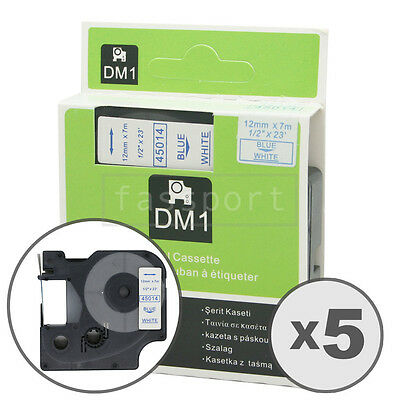 """5pk Blue on White Tape Label Compatible for DYMO 45014 D1 12mm 1/2"""""""
