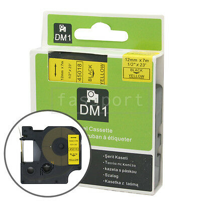"""1pk Black on Yellow Tape Label Compatible for DYMO 45018 D1 12mm 1/2"""""""