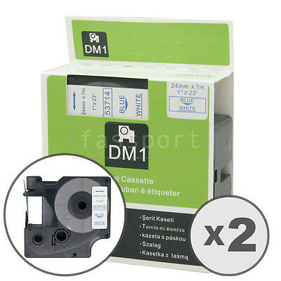 """2pk Blue on White Tape Label Compatible for DYMO 53714 D1 24mm 1"""""""