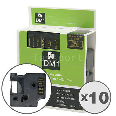 """10pk Gold on Black Tape Label Compatible for DYMO 53724 D1 24mm 1"""""""