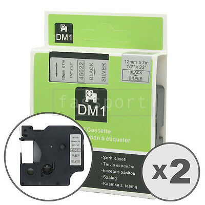 """2pk Black on Silver Tape Label Compatible for DYMO 45022 D1 12mm 1/2"""""""