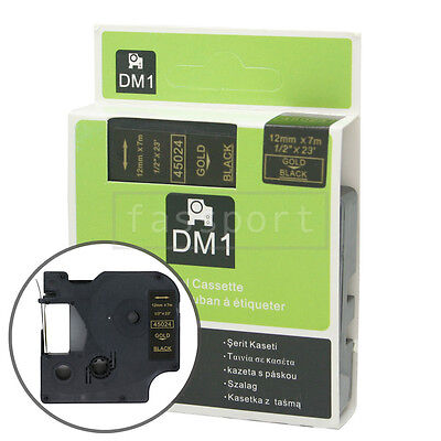 """1pk Gold on Black Tape Label Compatible for DYMO 45024 D1 12mm 1/2"""""""