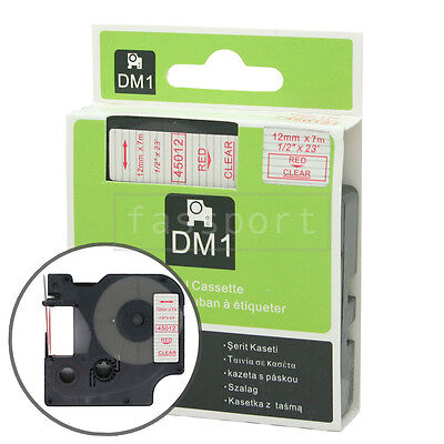 """1pk Red on Clear Tape Label Compatible for DYMO 45012 D1 12mm 1/2"""""""