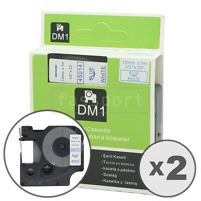 """2pk Blue on White Tape Label Compatible for DYMO 45014 D1 12mm 1/2"""""""