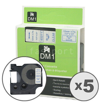 5pk Blue on Clear Tape Label Compatible for DYMO 45011 D1 12mm 1/2""