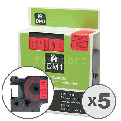 """5pk Black on Red Tape Label Compatible for DYMO 53717 D1 24mm 1"""""""
