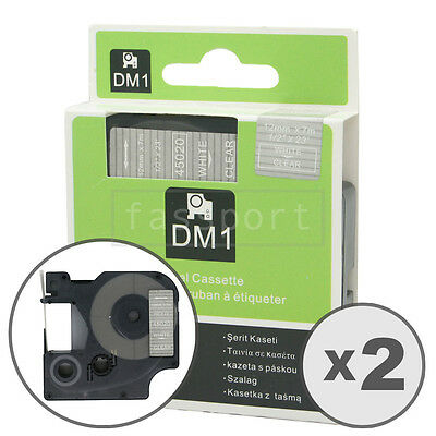 """2pk White on Clear Tape Label Compatible for DYMO 45020 D1 12mm 1/2"""""""