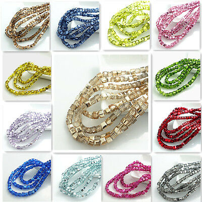 New Colors100pcs cube  crystal glass Loose Spacer 4mm beads Jewelry Findings
