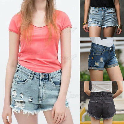 UK Vintage Fashion Womens Ladies High Waisted Denim Jeans Shorts Summer Hot Pant