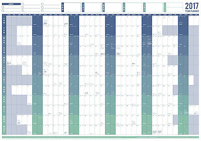 2017 Large Laminated Year Wall Chart and Holiday Planner (Blue)