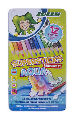Jolly Buntstifte Superstick AQUA 12er 3D Metalletui Aquarellfarbstifte