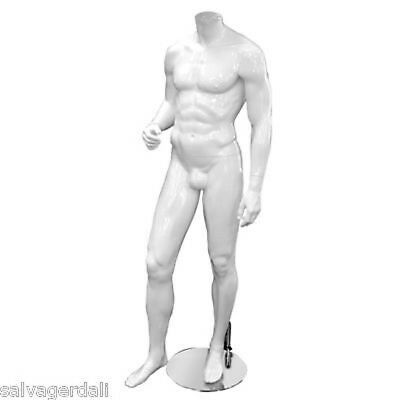 Male Abstract Glossy White Mannequin Headless Fashion Clothing Display Dummy NEW