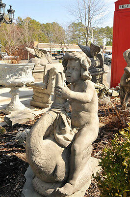 Garden Statue of Cherub Riding a Swan-European, Concrete, Whimsical Design