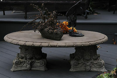 Italian style Concrete Oval Coffee Table, Corinthian Style Pedestal Bases