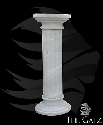 White Marble Pedestal, Fluted with Round Top #3023
