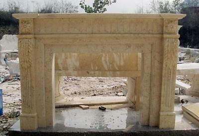 Solid Hand Carved Marble Fireplace features Floral Detail in Egyptian Biege