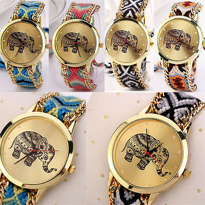 Fashion Women's Elephant Stainless Steel Weave Quartz Wrist Watch Gifts For Her