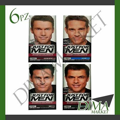 6 PEZZI JUST For Men Shampoo Colorante Nero Castano Scuro Medio ... d9dbf05db941