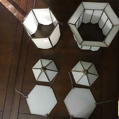 Art Deco Lighting White Stained Glass Ceiling Fixture Miscellaneous Pieces (6)