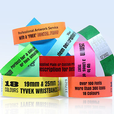 CUSTOM PRINTED TYVEK WRISTBANDS: QUANTITY 300 BANDS 19 or 25mm WIDTH 18 COLOURS
