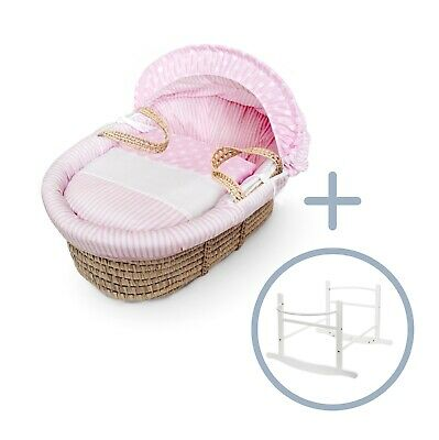 Pink Spots & Stripes Palm Moses Basket on Deluxe White Rocking Stand
