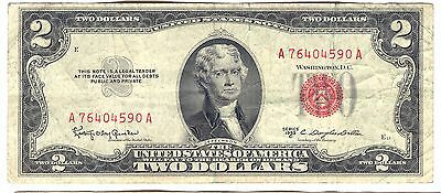 1953 C Us $2 Dollar Red Seal Note A76404590A