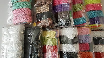48 pcs Girls Baby Crochet Headband With 1.5 inch Acrylic Choose color.