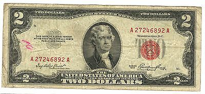 1953 Us $2 Dollar Red Seal Note A27246892A