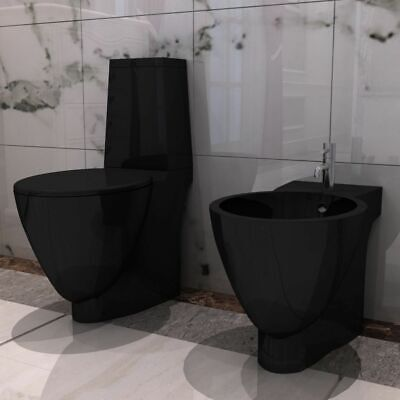 Sanitari da Bagno Set WC e Bidè in Ceramica Nero