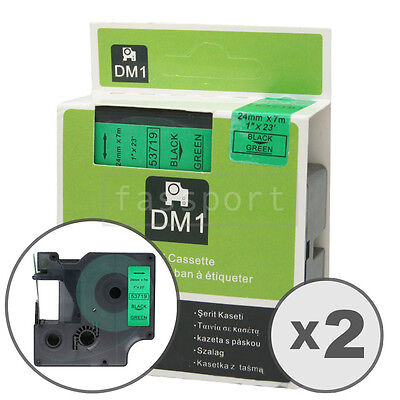"""2pk Black on Green Tape Label Compatible for DYMO 53719 D1 24mm 1"""""""