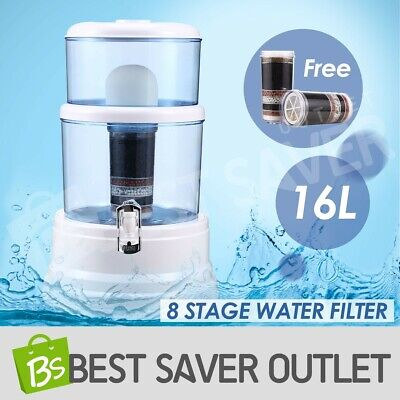 8 Stage Purifier 16L Water Filter Mineral Benchtop Dispenser Top Ceramic Carbon