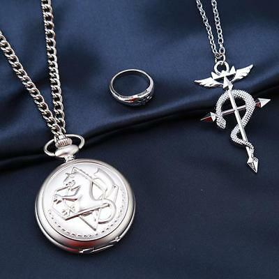 3x Full Alchemist Pocket Watch Necklace Ring Edward Elric Anime Cosplay Set - DD