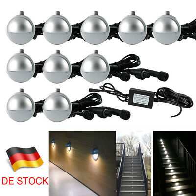 10er set 12v led treppe bad einbaustrahler terrassen leuchte lampe wei ip65 eur 53 98. Black Bedroom Furniture Sets. Home Design Ideas