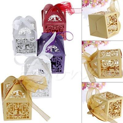 50 PCS Love Bird Laser Cut Candy Favor New Gift Boxes Wedding Party With Ribbon