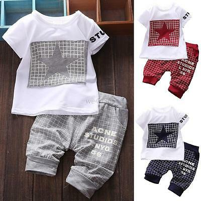 2PCS Kids Short Sleeve Baby Boy Summer Clothes Casual Tops T-shirt+Pants Outfits
