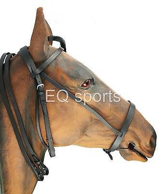 FAST P&P Leather Hunting Style /Hunting Bridle SIZE Pony Brown