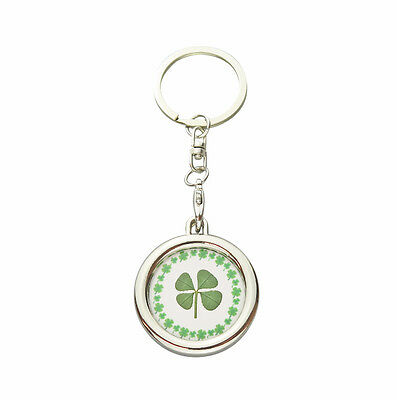 Lucky Real Four Leaf Clover Circle Good Luck Keyring with Certificate