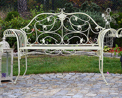 Victorian Romantic Metal Garden Bench Seat 2-Seater White Patio Backrest Outdoor