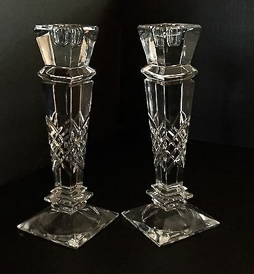 "GODINGER Pair 12"" Lead Crystal Etched Pillar Candlestick Holders. Stunning!!"