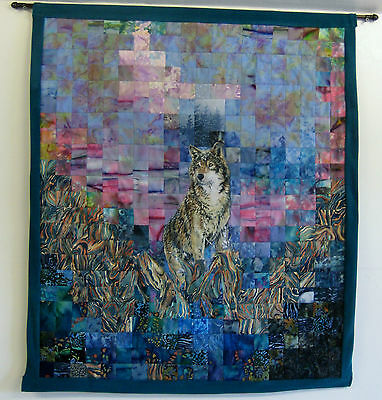 "Quilted Wall Hanging/Lone Wolf/31"" x 35 1/2""/over 460 pieces/signed by artist"