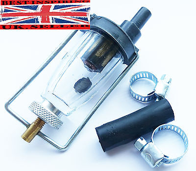 BRAND NEW ROYAL ENFIELD SPECIAL GLASS BOWL FUEL FILTER +2 Clip +6 mm Rubber hose