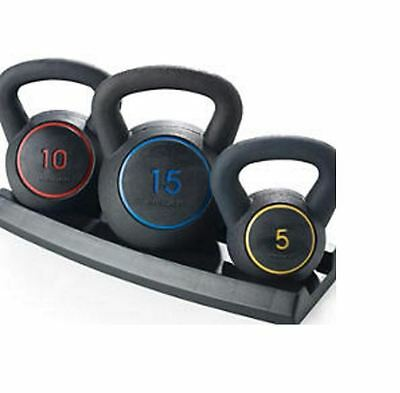 New Gold's Gym Workout Fitness Weight Lifting Set Body Training Kettlebell Kit