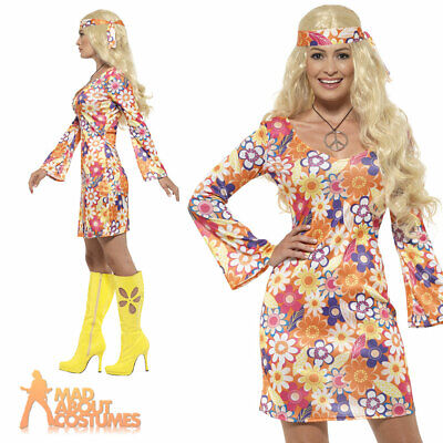 Womens Flower Hippie Costume Ladies 60s 70s Hippy Lady Fancy Dress Outfit Adult