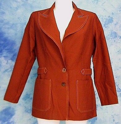ReTrO MOD 70s VtG WENDY WATTS HUGE LAPEL HiPSTER BELTED LEiSURE SUiT JACKET M