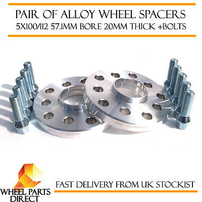 Wheel Spacers 20mm (2) Spacer Kit 5x112 57.1 +Bolts for Audi A4 [B5] 94-01