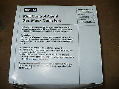 MSA 817590 Advantage 1000 Riot Control Agent Gas Mask Canisters, Exp: 7/10, New