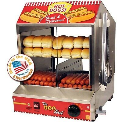 Commercial Hot Dog Steamer Cooker Countertop Hotdog Concession Warmer & Server