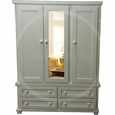 Hand Made Solid Pine Roman Triple 4 Drawer Wardrobe White (Assembled)