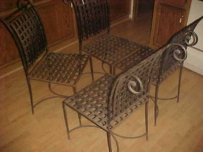 Fine VINTAGE - WROUGHT IRON BASKETWEAVE CHAIRS - HEAVY & OUTSTANDING Mid Century