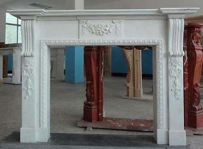 Attractive Simply Carved Marble Fireplace Mantel w/ Floral Swag on Front & Legs